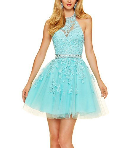 Bridal_Mall Women's Halter Lace Appliques Beaded Short Tulle Prom Party Gowns