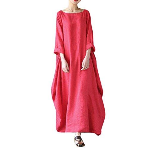 SOMESUN Maxi Kleider Damen Crew Hals Lose Beiläufig Solide Baumwolle Ausgebeult Übergroß, Damen Beiläufige Lose Kleid Fest Langarm Boho Lang Maxi Kleid L-4XL (Rot, XL) (Leinen-baumwoll-kleid)