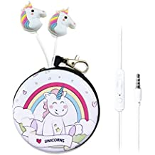 QearFun In Ear 3.5 mm 3D Cute Cartoon Animal Unicorn Horse Auriculares con micrófono con funda