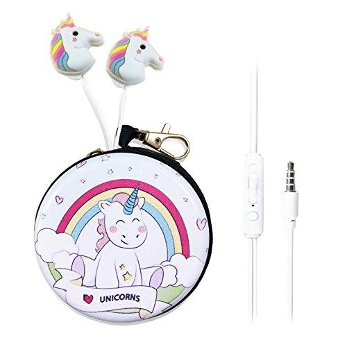 QearFun in Ear 3,5 mm Süßes 3D Cartoon Einhorn Pferd Kopfhörer mit Mikrofon mit Kopfhörer Fall Freisprecheinrichtung für Apple, Samsung, Android Smartphones MP3 Rainbow Unicorn