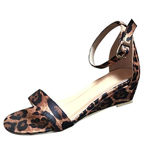 Damen Peep Toe Schuhe, Schnalle Knöchelriemen Low-Heeled Wedges Plus Size Leopard/Snake Print Sommer Sandalen für Damen Damen Leopard Print Wedges