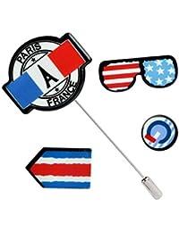 Broche de esmalte de metal Conjunto de insignias de 4PCS bandera estadounidense brazalete gafas Conjunto broche insignia