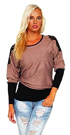 10188 Fashion4Young Damen Langarm-Pullover im Fledermaus-Stil Pulli verfügbar in 9 Farben Gr. 36/38 (36/38, Braun Schwarz)
