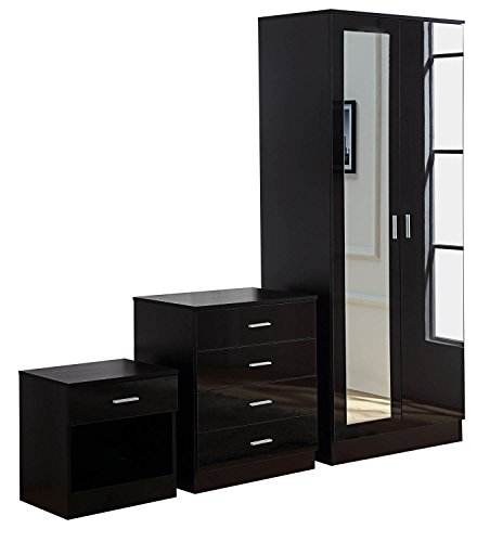 Gladini High Gloss Mirrored 3 Piece Bedroom Furniture Set – Includes Wardrobe, 4 Drawer Chest, Bedside Cabinet – Black (Black)