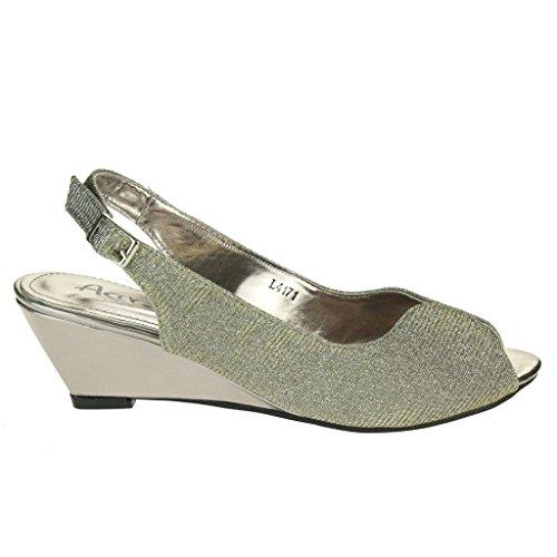 Femmes Dames Shimmery Soir Mariage Fête Bal de promo De mariée Peeptoe Slingback Talon compensé Des sandales Chaussures Taille Étain
