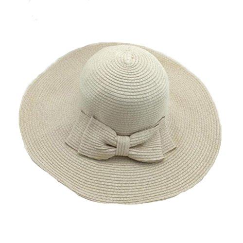 WINOMO Cappello da Sole Wide Brim Floppy paglia sole spiaggia di Hat Cap donne (Beige)