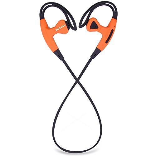 Sunvito Auriculares inalámbricos Bluetooth, estéreo deportivos auriculares con micrófono incorporado, In-ear con reducción de ruido auriculares de bluetooth para Smartphones y otros teléfonos inteligentes/dispositivos Bluetooth (Negro-naranja)