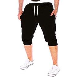 Pantalones Hombre,❤LMMVP❤Verano Hombres Gimnasio Entrenamiento Jogging Pantalones Cortos Fit Elástico Casual Ropa de Deporte (XL, Negro)