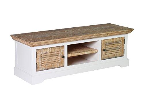 Woodkings® TV Bank Manila, Lowboard, Pinie rustikal, MDF weiß, TV-Unterschrank, Sideboard für TV aus Echtholz, TV Möbel, Fernsehunterschrank, Wohnmöbel, Fernsehmöbel, Landhausstil