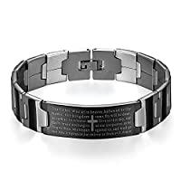 JewelryWe New Stainless Steel Black Silver-Tone Religious Cross English Lords Prayer Mens Bracelet (New 7.87 Inch)
