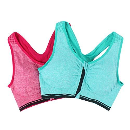 Home+L Sports Bras 2 Stücke Frauen Drücken Fitness Yoga BHS, Shakeproof Stretch Gym Sport Unterwäsche, Plus Größe Reißverschluss BH Tops @ XXL_I - Stretch-baumwolle-glatte Fit Bh