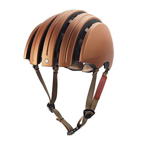 WRGWEHG Fahrradhelm Classic/Folding / Helm/Integrated Molding/Allgemein / Klapphelm, Kupfer Gelb/Braun XL