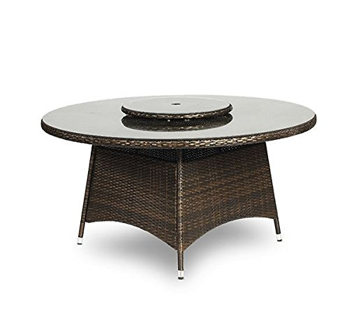 savannah rattan garden furniture round glass dining table and 8 seat