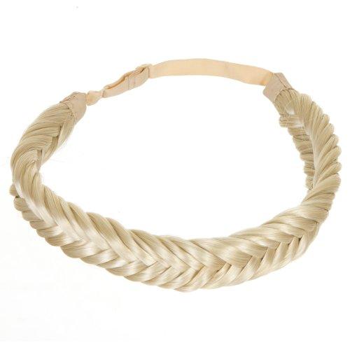 Platinblondes, geflochtenes Haarband im Schwalbenschwanz/Fishtail Stil | Elastisches Haarband im Zopf/ geflochtenen Stil