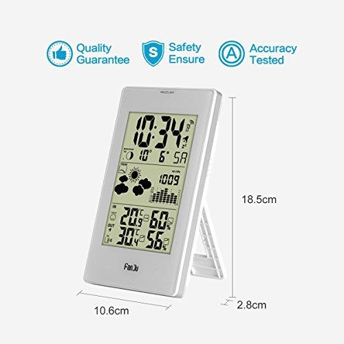 FanJu FJ3352 Wetterstation mit Außensensor Funk / Innen- und Außentemperatur und Feuchtigkeit / DCF-Empfangssignal Funkwetterstation / Mondphase / Betrieben Uhr mit Thermometer. - 6