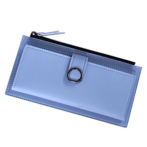 Jia Qing Dame Wallet Two Fold Wallet Soft PU Große Kapazität Cross Section Hand Tasche,Blue-OneSize (Fold Two Leder Wallet)