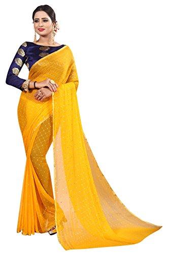 Perfectblue Women's cotton Silk Saree With Blouse Piece (YellowNA6AZMIN)