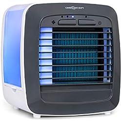 OneConcept Icecube - Rafraîchisseur, 6W, Volume du réservoir d'eau : 600 ML, 3 en 1 : rafraîchisseur,humidificateur et purificateur, 3 Vitesses, 2 Blocs réfrigérants, lumière LED, Blanc