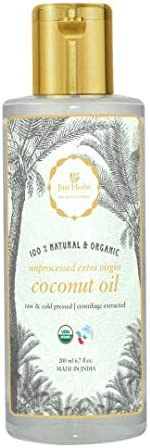 Just Herbs Extra Virgin Coconut oil, Unprocessed & Certified Ayurvedic, 100% Natural, Chemical Free - 20