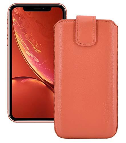 Suncase Echt Leder Tasche für iPhone XR mit ZUSÄTZLICHER Transparent Hülle | Schale | Silikon Bumper Handytasche (mit Rückzugsfunktion und Magnetverschluss) in Koralle