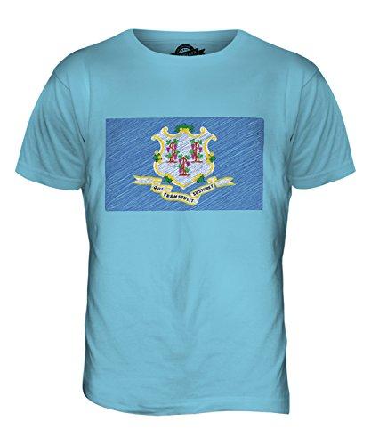 CandyMix Bundesstaat Connecticut Kritzelte Flagge Herren T Shirt Himmelblau