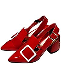 Patent Leather Pointed Toe Slingback Medium Heels Pumps For Women Big White Buckle Design Red Chunky Heels Dress...