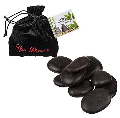 Out of the Blue 24/0022 - Wellness Steine, für traditionelle Hot Stone Massage, 9 Steine im Samtbeutel