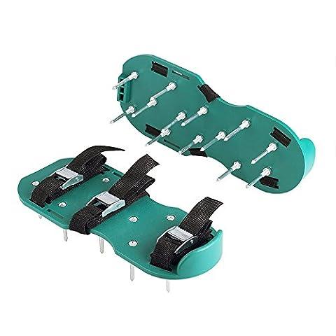 Itian Aérateur de Gazon Spike Chaussures avec 3 Sangles Réglables avec Boucles Métallique, Heavy Duty Pointes Sandales pour Aérer Votre Pelouse ou Yard (Vert)