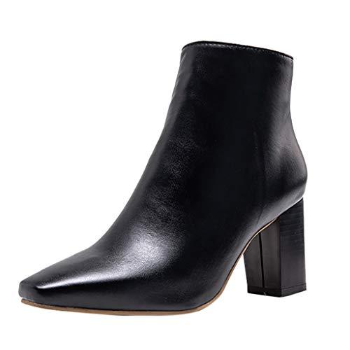 LILIHOT Mode Reine Stiefel Farbe Karree ReißVerschluss Stiefel Chunky Heels Vintage Frauen Damen Lederstiefel Halbschaft Hoher Absatz Freizeit Schuhe High Heel Boot