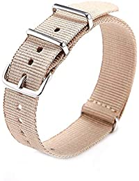 Watch strap-TOOGOO(R) Watch strap nylon military 18mm thin stainless steel buckle key APRICOT