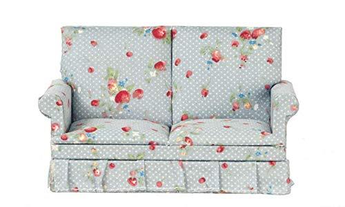 Melody Jane Puppenhaus Miniatur Wohnzimmer Möbel 2-sitzer Blau Sofa Loveseat