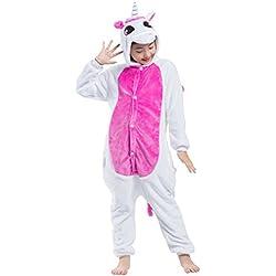 Pijama Unicornio Rosa, Franela Onesie Animal Cosplay para Niños entre 9,0 y 1,46 m Unisex Kigurumi