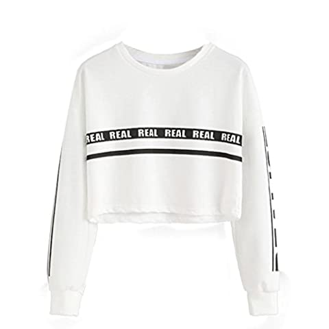 Tonsee Femmes Mode Blanc Lettre Imprimer Surgir Sweat-shirt Top Blouse (S, Blanc)