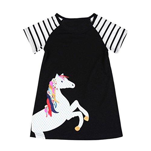 JERFER Kleinkind Infant Baby Kinder Mädchen Cartoon Kleider Gestreifte Tiere Outfits Kleidung (Schwarz, 5T) (Kleidung Kleidung Infant)