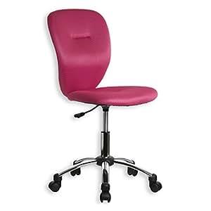 Fauteuil chaise de bureau enfant leon hauteur r glable roulettes tissu rose - Amazon fauteuil enfant ...