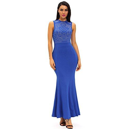 PU&PU Femmes Party / Cocktail Club élégant strass manches robe maxi sirène, col roulé blue