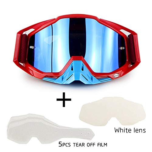 DishyKooker Motorrad-Cross-Country-Brille Outdoor-Brille Set mit transparenter Linse und zerreißbarer Folie Red Suit