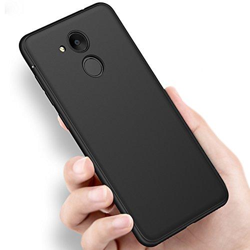 Vooway Schwarz Dünn Weich TPU Silikon Hülle Schutzhülle Slim Case + Bildschirmschutzfolie für Huawei Honor 6C Pro (5.2