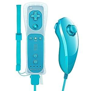 Jevogh Motion Plus Wii Controller und Nunchuck Wireless Nintendo Wii Fernbedienung Gamepad und Nunchuk Joystick für Nintendo Wii/Wii U GR17 – Cyan (Dritteranbieter Produkt)