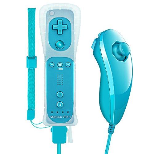 Wii Remote Plus, XW05 Nintendo 2 in 1 Wii Controller mit Nunchuck Eingebauter Motion Plus Vibrationsmotor für Wii und Wii U + Silikon Schutzhülle und Handschlaufe - hellblau (2 Remote In 1 Wii)