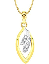VK Jewels Delight Leaf Gold And Rhodium Plated Alloy CZ American Diamond Pendant With Chain For Women [VKP2642G]