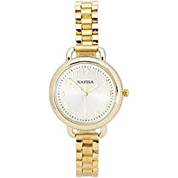 Chronomart Nafisa Women's Small Size Gold Color Case Stainless Steel Strap Wrist Watch NA-0065