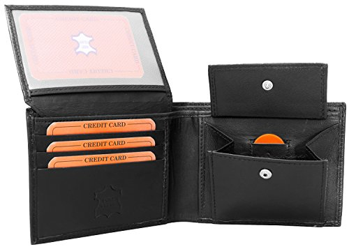 Portefeuille en cuir pour homme - Porte monnaie - Porte cartes - Format paysage - Noir