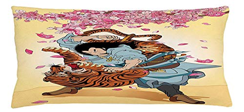 Trsdshorts Japanese Throw Pillow Cushion Cover, Brave Samurai and Tiger Clash Turn into Floral Sakura Cherry Blossoms Cartoon Print, Decorative Square Accent Pillow Case, 18 X 18 Inches, Multi