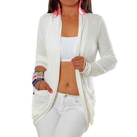 G344 Damen Longshirt Strick Cardigan Jacke Strickjacke Kleid Bluse Lang Taschen,