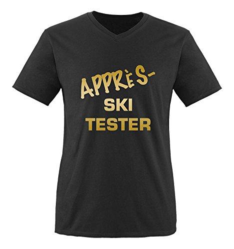 Comedy Shirts - Appre's Ski Tester - Herren V-Neck T-Shirt - Schwarz / Gold Gr. M