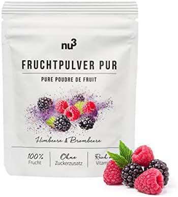 nu3 Poudre de Fruits Pure Framboises/Mûres sans Gluten 80 g