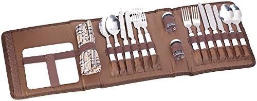 PEARL Camping Geschirr: 22-tlg. Picknick-Besteck-Set für 4 Personen, mit Salz-/Pfefferstreuer (Camping Besteck Set Tasche)