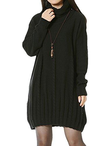 MatchLife Femme Nouveau Col roulé Twist Patterned Loose Fit Pulls Tops Noir