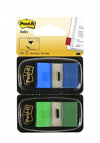 Post-it I680-GB2 Haftstreifen Index Standard, 2 x 50 Haftstreifen im Spender, 25,4 x 43,2 mm, blau, grün